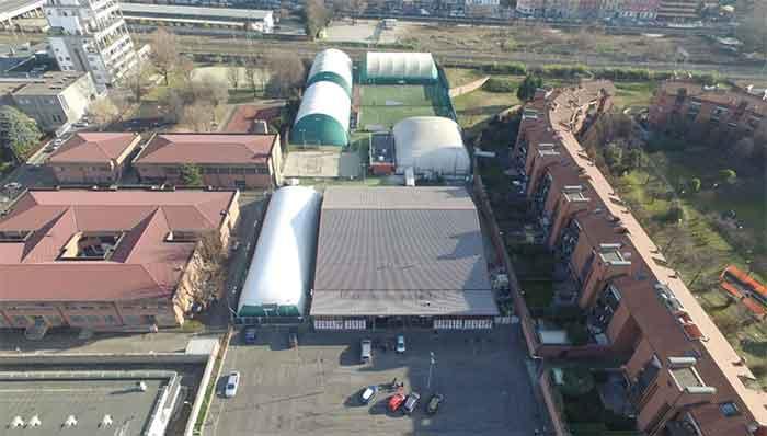Lombardia Uno | Affitto Campi da Calcio, Calcetto, Beach Volley, Beach Tennis, Foot Volley e Paddle Padel a Milano | immagine Palauno aerea